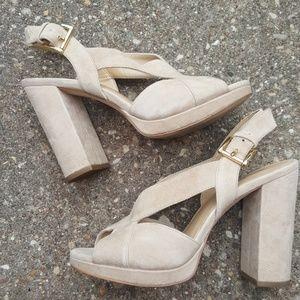 Michael Kors Cream Suede Strappy Heels Womens 6.5